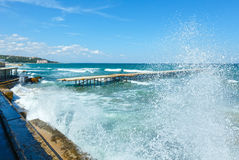 Sea coast and splashes of surf (Bulgaria). Royalty Free Stock Image