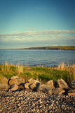 Sea coast in the spring in hot weather Royalty Free Stock Photo