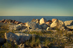 Sea coast in the spring in hot weather Stock Image