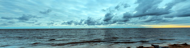 Sea coast before the storm. Panoramic view. Summer autumn panorama landscape Baltic sea. Latvia Royalty Free Stock Photography