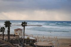 Sea coast before the storm stock photos