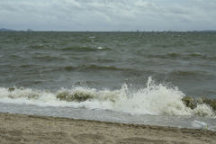 Sea and the coast on a stormy winter day, a seen from a beach in Royalty Free Stock Image