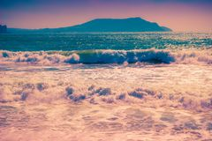 Sea coast at sunset. Scenic water landscape royalty free stock photo