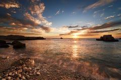 Sea coast at sunset Stock Photo