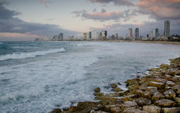 Sea coast of Tel Aviv at the evening. Sea coast and the view of the Tel Aviv from Old Jaffa at the evening Royalty Free Stock Photography