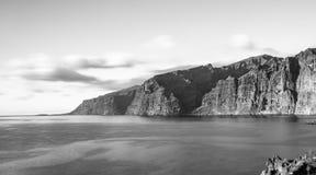 Sea coast of Tenerife.Canary islands.Gigantes B&W royalty free stock images