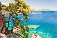 Sea coast with turquiose water and pines near Kemer, Turkey. Beautiful summer landscape stock photos