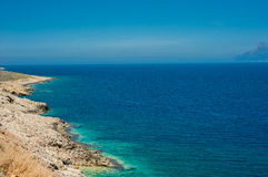 Sea coast, turquoise water and rocky hill. Road to Balos bay, Cr Royalty Free Stock Photography