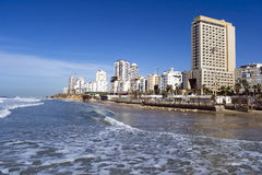 Sea coast and the view on Bat-Yam Stock Photos