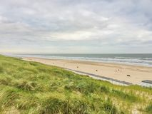 Sea coast view of egmond beach dune. A sea coast view of egmond beach dune with ocean view stock photos