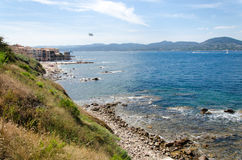 Sea coast with view Stock Images