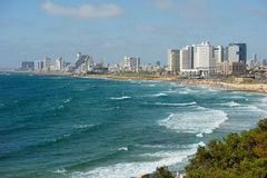 Sea coast and the view of Tel Aviv Royalty Free Stock Photography