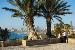 Sea coast and the view of Tel Aviv Stock Images