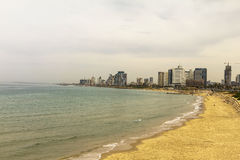Sea coast and the view of the Tel Aviv from Old Jaffa at the evening Stock Image