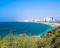 Sea coast and the view of the Tel Aviv from Old Jaffa Royalty Free Stock Photos
