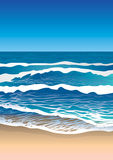 Sea Coast, Waves on Water Royalty Free Stock Photo