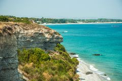 Sea coast with white sand Stock Photography