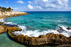The sea coast in Xcaret park, Mexico Stock Photography