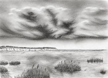 Sea coastline with cliff and dramatic stormy clouds. Graphite pencil on paper vector illustration