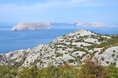 Sea coastline with eroded limestone cliffs Stock Photos