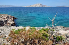 Sea coastline with eroded limestone cliffs Stock Photo