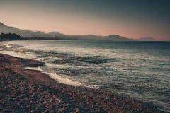 Sea coastline in the evening. Alanya, Turkey, Mediterranean sea. Royalty Free Stock Photo