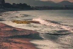 Sea coastline in the evening. Alanya, Turkey, Mediterranean sea. Stock Images