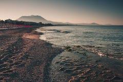 Sea coastline in the evening. Alanya, Turkey, Mediterranean sea. Stock Photos