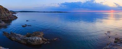 Sea coastline sunrise panorama. Stock Photos