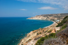 Sea and coastline view from a rocky height Royalty Free Stock Photos