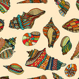 Sea cockleshell seamless pattern. Zentangle stylized sea cockleshell seamless pattern. Hand Drawn aquatic doodle vector illustration. Sketch for tattoo or Stock Image
