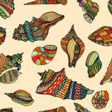 Sea cockleshell seamless pattern Stock Image