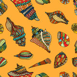 Sea cockleshell seamless pattern Royalty Free Stock Images