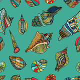 Sea cockleshell seamless pattern Stock Photo