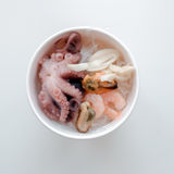 Sea cocktail, octopus. Cocktail of shrimp, mussels and octopus in a plate Stock Photo