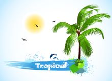 Sea and coconut palm. Vector Stock Photos