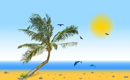Sea and coconut palm. Vector Stock Photography