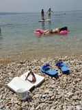 Sea, coffee, book and family on vacation. On Croatia (Dalmatia Royalty Free Stock Image