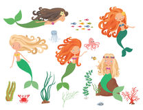 Sea collection. Mermaids and sea animals on a white background Stock Photography