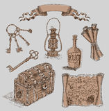 Sea collection with old engraved objects Royalty Free Stock Photos