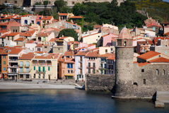 The sea and Collioure in France stock photos