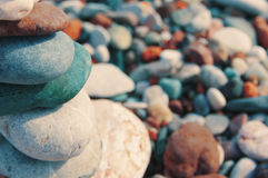 Sea color pebble Stock Photography
