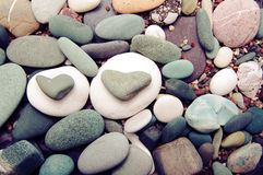 Sea color stones in the form of heart Stock Photography