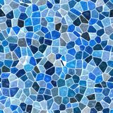 Sea colored floor marble irregular plastic stony mosaic pattern seamless background with white grout - blue colors Stock Photography