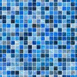 Sea colored floor marble plastic stony mosaic pattern texture seamless background with white grout - blue colors Royalty Free Stock Photo