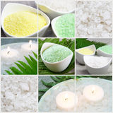 Sea Colored Salt Collage. Sea Colored Salt and Candles Collage Stock Image