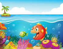 A sea with colorful coral reefs and fishes. Illustration of a sea with colorful coral reefs and fishes Stock Images