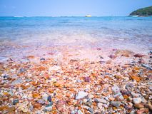 The sea and the colorful rocky beach of Koh Larn is an island in Pattaya stock photos