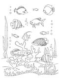 Sea coloring book page. Coloring book page, black and wight. Ocean bottom with sea inhabitants and seaweed. Doodle style, hand draw Stock Images