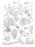 Sea coloring book page. Coloring book page, black and wight. Ocean bottom with sea inhabitants and seaweed. Doodle style, hand draw Royalty Free Stock Image